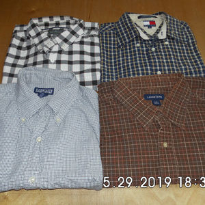 4 Men's L/S Button Down Shirts Lg Bean Tommy Land